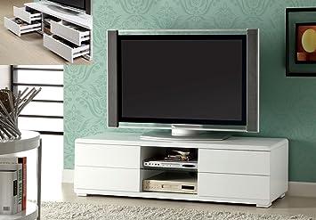 "60"" Glossy White Finish TV Stand w/ Drawers"