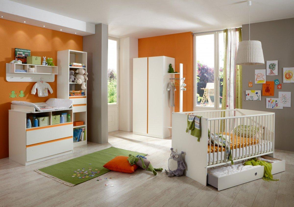Dreams4Home Babyzimmer Set 'Coco II', Bett,Schrank,Wickelkommode,Regal,Wandboard,Alpinweiß,Absatz in Orange, Modell:ohne Bettseiten;Bettkasten:mit Bettkasten günstig kaufen