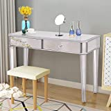 Tangkula Mirrored Makeup Table Desk Vanity for Women with 2 Drawers Home Office Smooth Silver Finish Vanity Dressing Table for Women Large Storage Drawers Writing Desk Modern Media Console Table (Color: Silver)