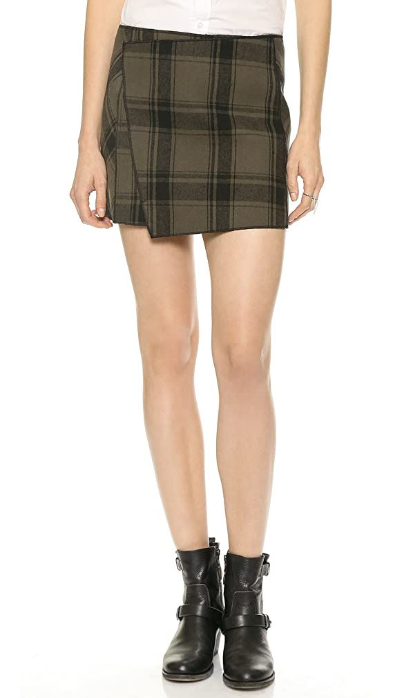 Free People Womens Plaid Asymmetric Mini Skirt