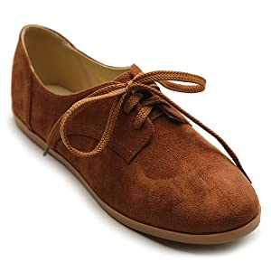 Ollio Women Classic Flat Shoe Lace Up Faux Suede Oxford(6 B(M) US, Brown)