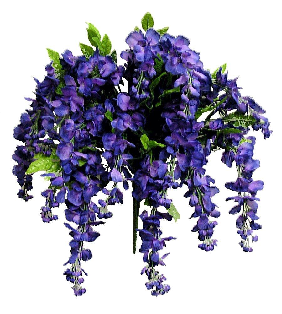 Artificial Wisteria Long Hanging Bush Flowers - 15 Stems For Home, Wedding, Restaurant and Office Decoration Arrangement, Purple