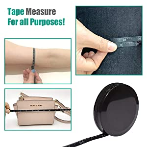 Tape Measure for Body Measuring Tape for Body Cloth Measuring Tape for Sewing Tailor Fabric Measurements Tape (Retractable Dual Sided Black) (Color: Black, Tamaño: Portable Tape Measure (Black))