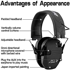 ACTFIRE Shooting Ear Protection, Electronic Ear Protection NRR 23dB Noise Reduction Sound Amplification Safety Earmuffs Ultimate Combat Shooting Muff Design Perfect for Shooting Hunting Mowing (Color: MATTE BLACK)