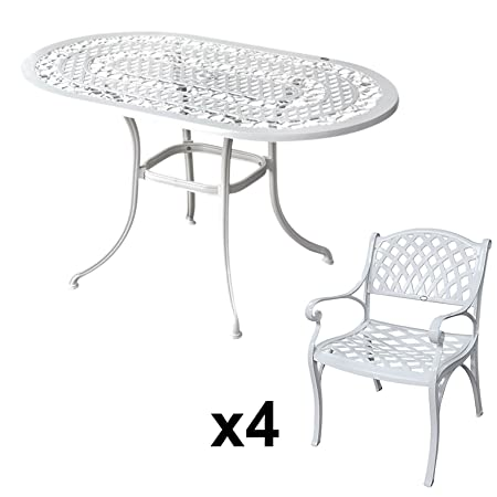 Lazy Susan Furniture - Elise 136 x 81 cm Oval 4 Seater Cast Aluminium Garden Set - White (Kate chairs)