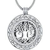 Christmas Memorial Gifts - 'Always in My Heart' Urn Locket Pendant Necklace - 'Tree of Life' Cremation Jewelry for Ashes - Keepsake for Dad Sister Grandma Aunt Wife Daughter Mom (Color: 01_Silver)
