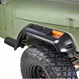 E-Autogrilles EAG 87-95 Jeep Wrangler YJ Pocket Rivet Style Front + Rear Fender Flare Wheel Cover Trim (Color: Black)