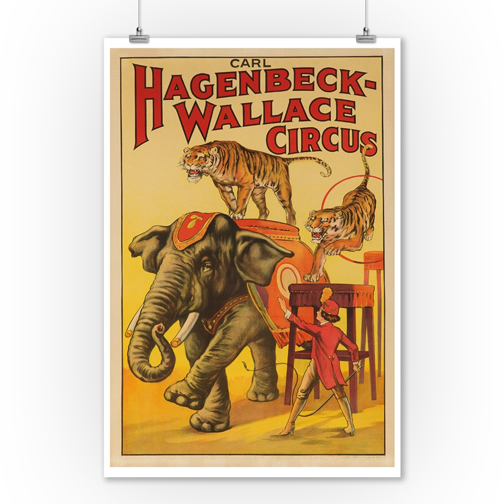 Hagenbeck - Wallace Circus (elephant and tigers) Vintage Poster USA c. 1933 (9x12 Collectible Art Print, Wall Decor Travel Poster) 1