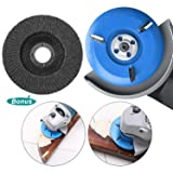 BLIKA 90mm Diameter 16mm Bore Blue Power Wood Carving Disc Woodworking Angle Grinder Attachment, Three-Tooth Milling Cutter with Sanding Grinding Wheel (Color: Blue)