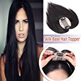 Elailite Silk Base Human Hair Toppers for Women Clip in Hair Top Hairpiece Natural Hair Toupee for Tinning Hair #1B Natural Black (Color: #1b Natural Black-6x9cm Base, Tamaño: 6 Inch)