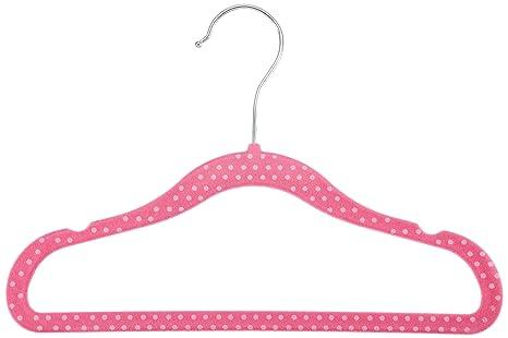 AmazonBasics Kids Velvet Hangers - Pink (Set of