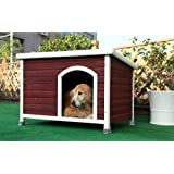 Petsfit 40.8 X 26 X 27.6 Inches Wooden Dog Houses, Dog House Outdoor (Color: Red, Tamaño: Medium/40.8