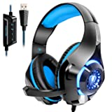Beexcellent USB Headset, 7.1 Surround Sound Computer Gaming Headset, PC Headset with Noise Canceling Mic Volume Control LED Light for PC Mac Laptop (Color: Blue, Tamaño: blue)