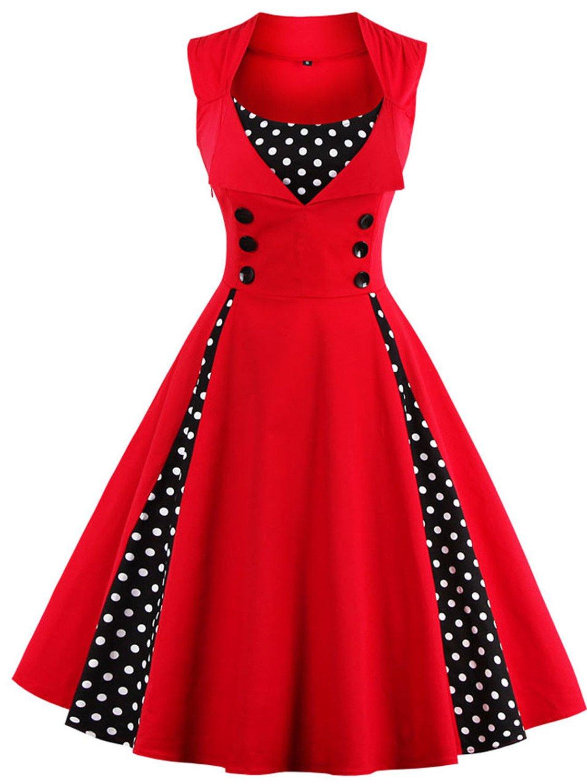 Babyonline Women Vintage Dresses Black Polka Dot 1950s