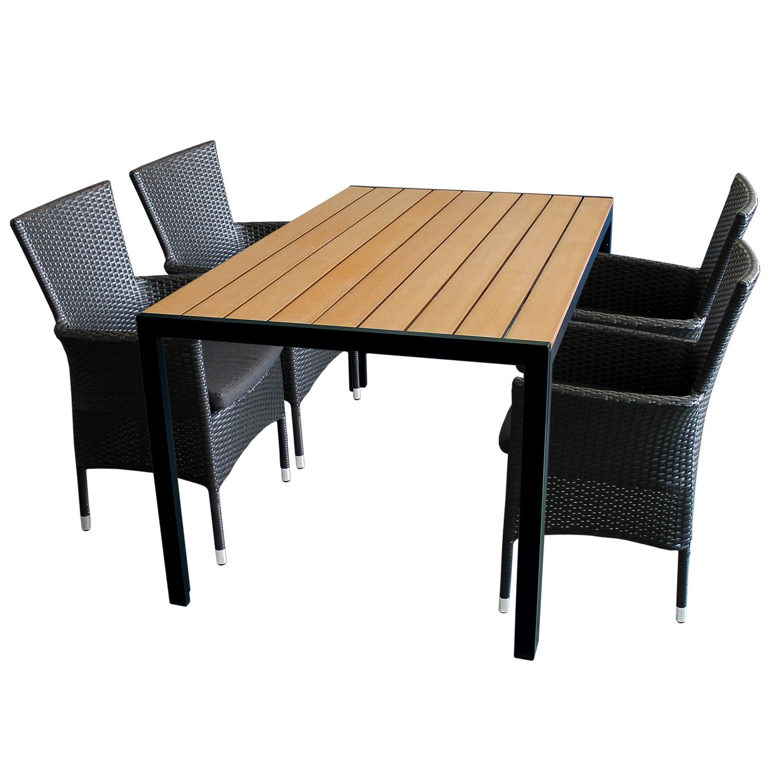 5tlg gartengarnitur gartenm bel set aluminium polywood non wood tisch 150x90cm 4x poly rattan. Black Bedroom Furniture Sets. Home Design Ideas