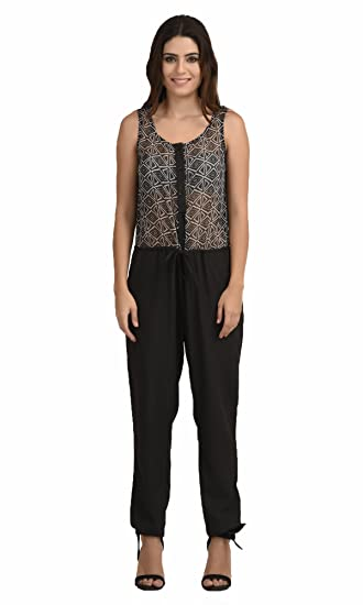 The Gud Look Polyester Black Diamond Print Jumpsuit - Black at amazon