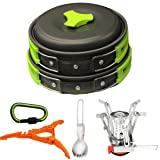 Bisgear 14 Pcs Camping Cookware Stove Carabiner Canister Stand Tripod Folding Spork Set Outdoor Camping Hiking Backpacking Non-stick Cooking Picnic Knife Spoon Wine Opener (14 pcs(Green))