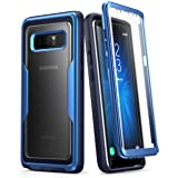 Samsung Galaxy Note 8 Case,i-Blason [Magma Seris] Built-in Screen Protective Clear Back Cover with Holster [Heavy Duty] Belt Clip Shell for Note 8 (MetallicBlue) (Color: MetallicBlue)