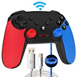 Momen Wireless Switch Pro Controller for Nintendo, Enhanced Dual Shock Gaming Gamepad Joypad with Nintendo Switch Gyro Axis- (Black-Red-Blue) (Color: b-red-blue)