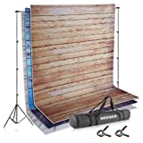 Neewer Photo Video Studio Backdrop and Support Kit: 3-Pack 5x7feet/1.5x2meters Wooden Polyester Backdrop,8.5x10feet/2.6x3meters Adjustable Support System with 2-Piece Background Clamps and Carry Bag (Color: wood, Tamaño: 61 x 7.9 x 6.7 inches)