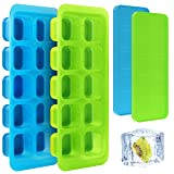 Kootek Silicone Ice Cube Trays Cubes Size (1.4 x 1.4 x 1.25) with Lids 2 Pack Easy Release Ice Tray Square Cubes Removable Spill-Resistant Stackable Cover for Whisky Cocktail Drinks (Color: Blue & Green, Tamaño: 9.52 x 3.93 x 3.37 in(L×W×H) 2 Pack)