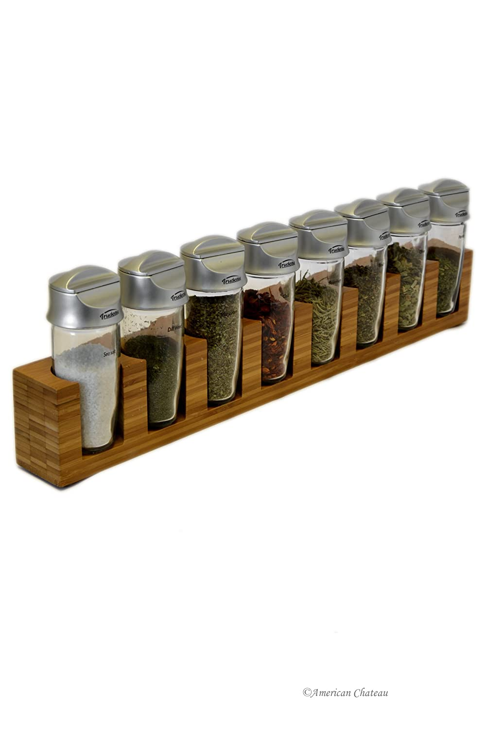 18 Bamboo Kitchen 2-In-1 Wall-Mount / Table Top Spice Rack With 8 Glass Jars 100pcs 4ml small glass vials with cork tops bottles little empty jars 22 25mm