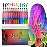 Qivange Hair Chalk Pens Set 12 Temporary Hair Color Girls Toys Hair Dye for Adults Great Birthday Halloween New Year Gift for Boys Girls (Color: 12 pcs hair chalk pen)