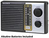 Sony 2 Band Receiver Portable AM & FM Transistor Radio with Large Dial Panel, 3.75 Speaker, Earphone Jack, Carry Strap, Easy Tuner Knob, Headphone Jack & Telescopic Ferrite Bar Swivel Antenna - Battery Powered - Batteries Included