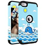 iPod Touch 7 Case, iPod Touch 6 Case, SAVYOU 3 in1 Combo Anti Slip iPod Touch 5 Shockproof Case Hybrid with Soft Flexible Inner Silicone Skin Protective Cover (Color: Blue Whale)