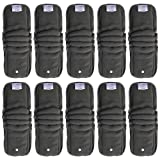 EcoAble Baby Charcoal Bamboo Snap-in Inserts with Anti-Leak Gussets for Ai2 Cloth Diapers & Covers (10-Pack) (Color: Grey, Tamaño: 10-pack)
