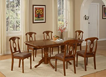East West Furniture NANA7-SBR-C 7-Piece Dining Table Set