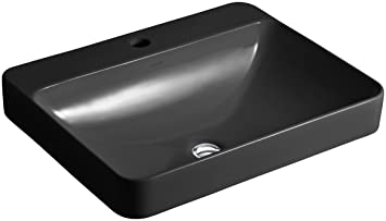 KOHLER K-2660-1-7 Vox Rectangle Vessel Above-Counter Bathroom Sink with Single Faucet Hole, Black Black