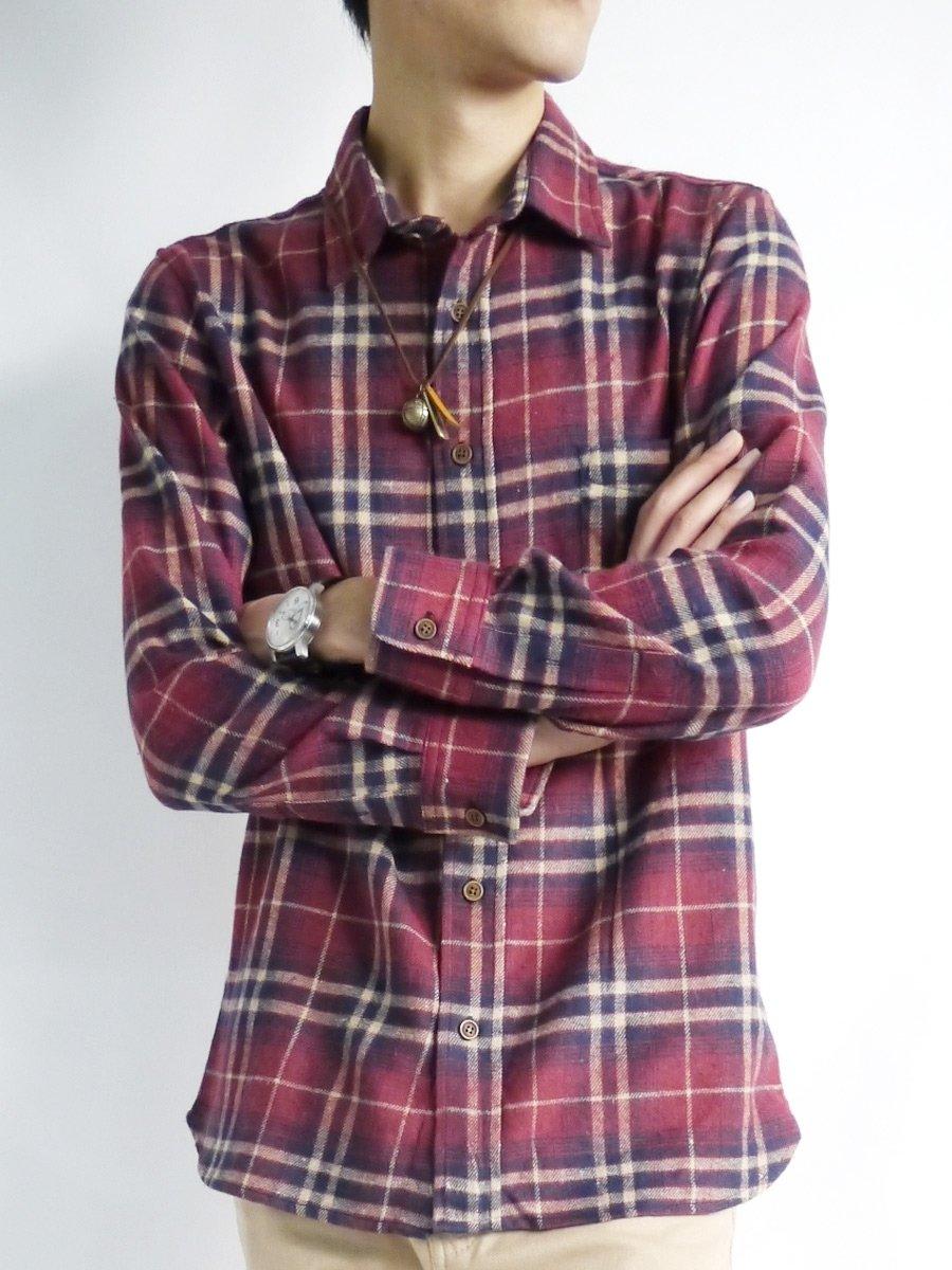 (モノマート) MONO-MART 8色 起毛 フランネルシャツ チェック 暖かいシャツ メンズ