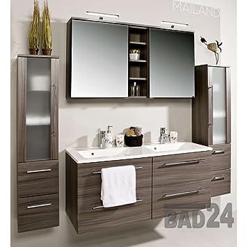 badm belset mailand eiche dunkel inkl doppel waschbecken und doppel spiegelschrank feiwvfa. Black Bedroom Furniture Sets. Home Design Ideas