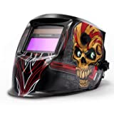 FOOWOO Solar Powered Welding Helmet Auto Darkening Hood with Adjustable Shade Range 4/9-13 for Mig Tig Arc Plasma, Professiona Welder Mask, 1CR2032 Lithium Replacement Battery Included Skull Design (Color: Skull Designed)