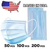 3 Ply Disposable Mask with Elastic Ear Loops - Mask 50 PCS - Soft & Comfortable Filter Safety Mask for Dust Protection - Protective (Tamaño: 100 pcs)