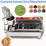 Automatic Donut Making Machine ixaer Commercial Electric Automatic Doughnut Donut Machine Donut Maker Auto Donuts/Molding/Frying/Turning/Collecting Machine (Can Making 3 Sizes Donut) (Color: Silver)