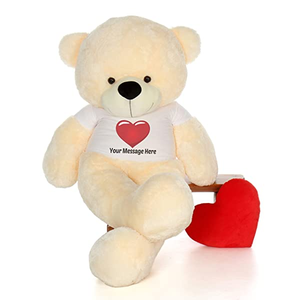 Giant Teddy Personalized Life Size 6 Foot Bear Cuddles with Red Heart T-Shirt (Vanilla Cream) (Color: Vanilla Cream, Tamaño: 6 Foot)