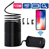 Wireless Endoscope, NIDAGE Super 50 FT Long Semi-Rigid WiFi Borescope Inspection Camera 2.0 MP Snake Camera Compatible Android and iOS Smartphone, iPhone, Samsung, Tablet (Blue) (Color: Blue)