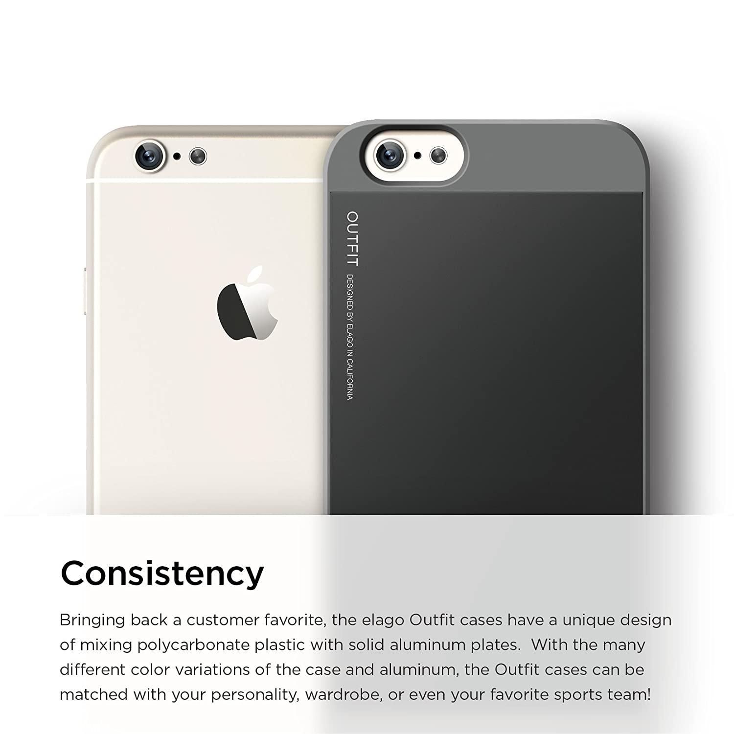 Elago S6 Outfit Aluminium Case for iPhone6 4.7 - Dark Gray / Black