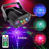 Chims DJ Laser Lights Projector Red Green Blue Colorful 128 Patterns with RGB Galaxy LED Ripple Wave Lighting System for Party DJ Stage Disco Music Show Bar Club Xmas (4 Lens RGB 128 Patterns) (Color: RGB 128 Patterns)