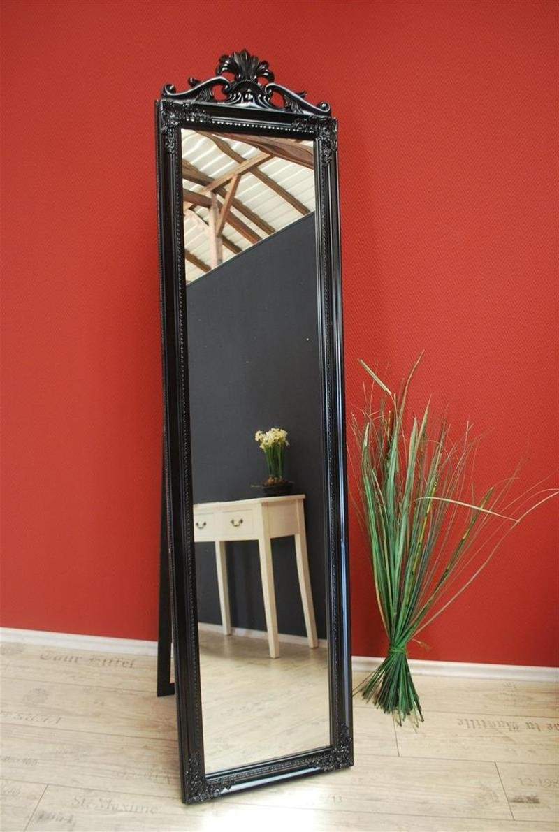 Standspiegel Spiegel antik schwarz hochglanz barock Landhaus 180 cm hoch    Überprüfung und Beschreibung