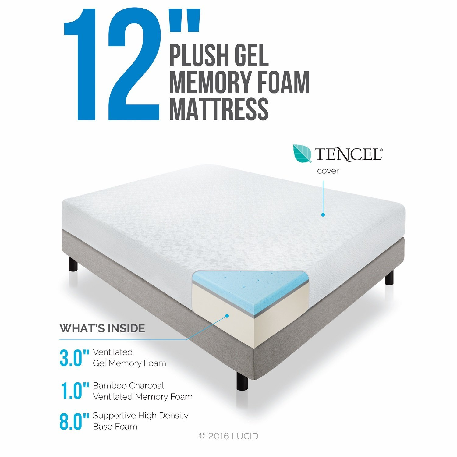 Lucid 12 Inch Gel Memory Foam Mattress Triple Layer 4 Pound Density Ebay