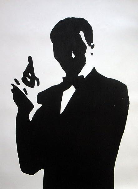 28 x 16 James Bond de pintura al óleo pintado a mano de arte, no es un Giclée, o Póster de cuadro. Este es un diseño de arte basado en el clásico diseño de la película. Pinceladas y la textura de la son evi
