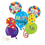 Andaz Press Balloon Bouquet Party Kit with Gold Cards & Gifts Sign, Rainbow Colored Balloon Bash Foil Mylar Balloon Decorations for Him or Her, 1-Set (Color: Rainbow Colored Balloon Bash Theme)