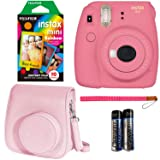 Fujifilm Instax Mini 9 Instant Camera - Flamingo Pink, Fujifilm Instant Mini Rainbow Film, and Fujifilm Instax Groovy Camera Case - Pink (Color: Flamingo Pink)