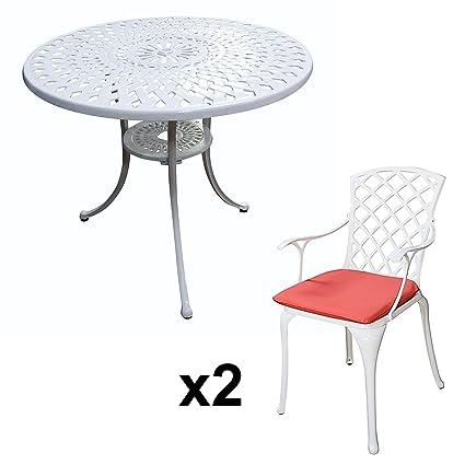 Lazy Susan - Table ronde 90 cm MIA et 2 chaises de jardin - Salon de jardin en aluminium moulé, Blanc (chaises EMMA, coussins terracotta)