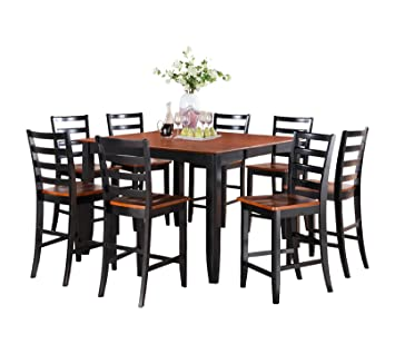 East West Furniture FAIR5-BLK-W 5-Piece Counter Height Dining Table Set, Black/Cherry Finish