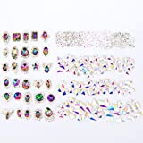 editTime 200 Pieces 3D Luxury Colorful Shining Crystals Diamond Nail Art Rhinestones Charms Nail Art Metal Gems Stones Decoration Craft Jewelry for Nail Art DIY (Color: Colorful)