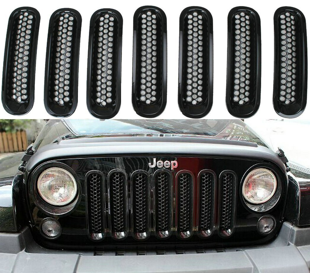 Black Front Grill Mesh Grille Insert Kit For Jeep Wrangler Rubicon Sahara Jk 2007-2015 7PC